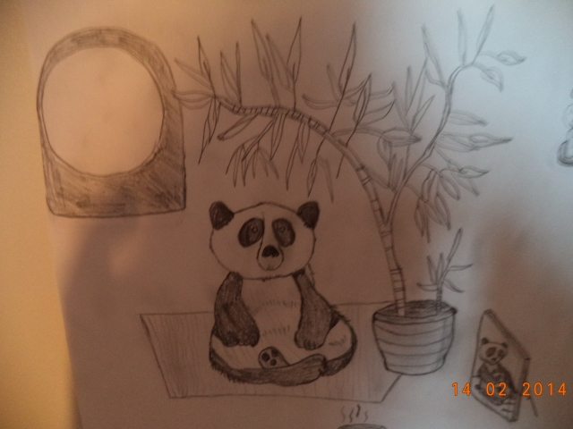 Det här är en till panda, som jag ritade i januari detta året. Det är väldigt kul att teckna dem tycker jag!