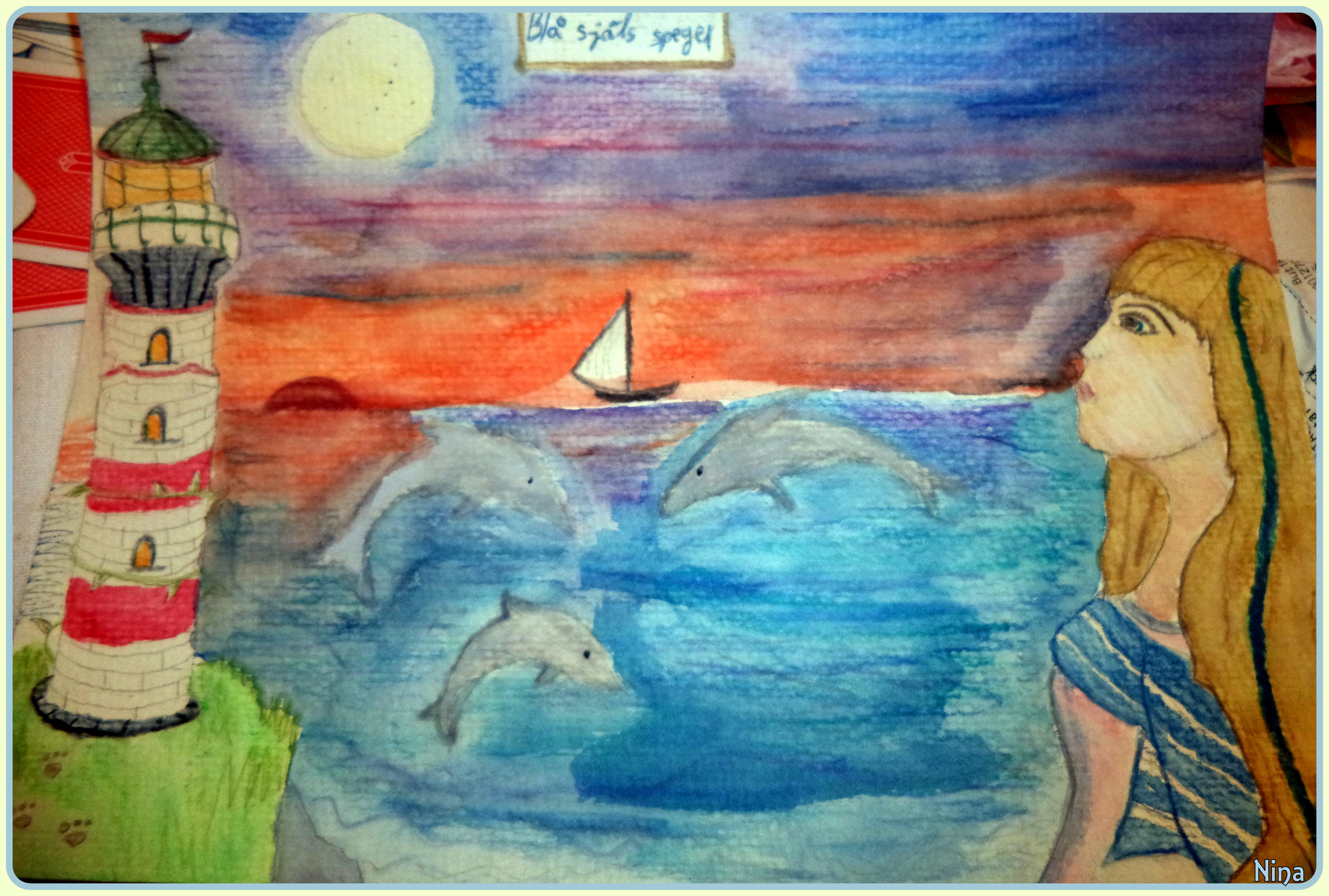 En färgstark akvarellteckning jag gjorde i mars, fiskens månad inom astrologin. Därav titeln på målningen och det havsinspirerade temat.