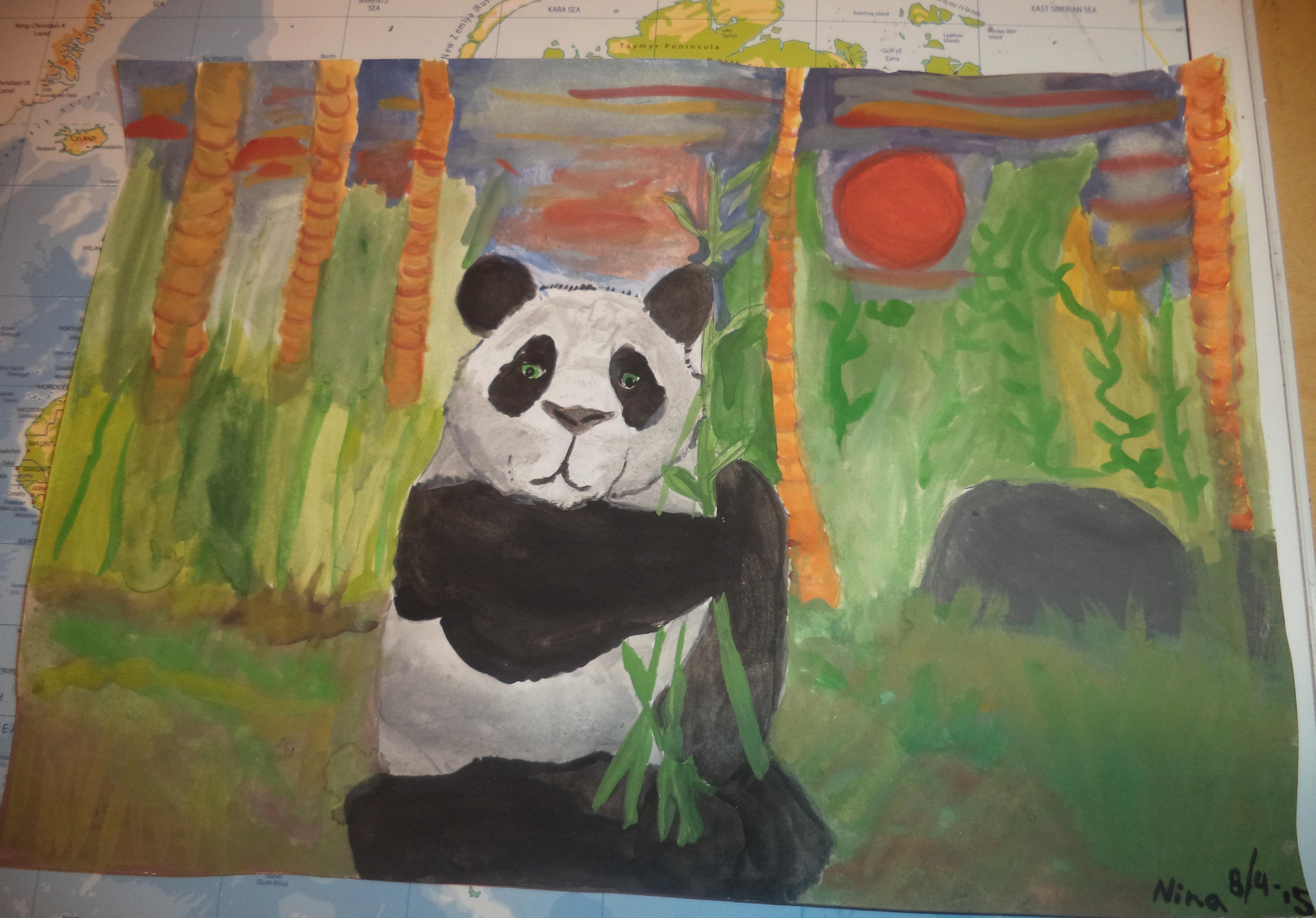 """Den här målningen gjorde jag för några dagar sedan. Namnet är """"I bambuskogens  gröna vrå""""  Det är någonting väldigt tilldragande med pandor som gör att jag verkligen tycker om att teckna eller måla dem.  Jättepandor är fantastiskt fina djur som är utrotningshotade, men som nu blir fler i Kina. Den här målningen, som är gjord i vattenfärg, kan ses som en hyllning till världens få men unika pandor. ~ <3"""