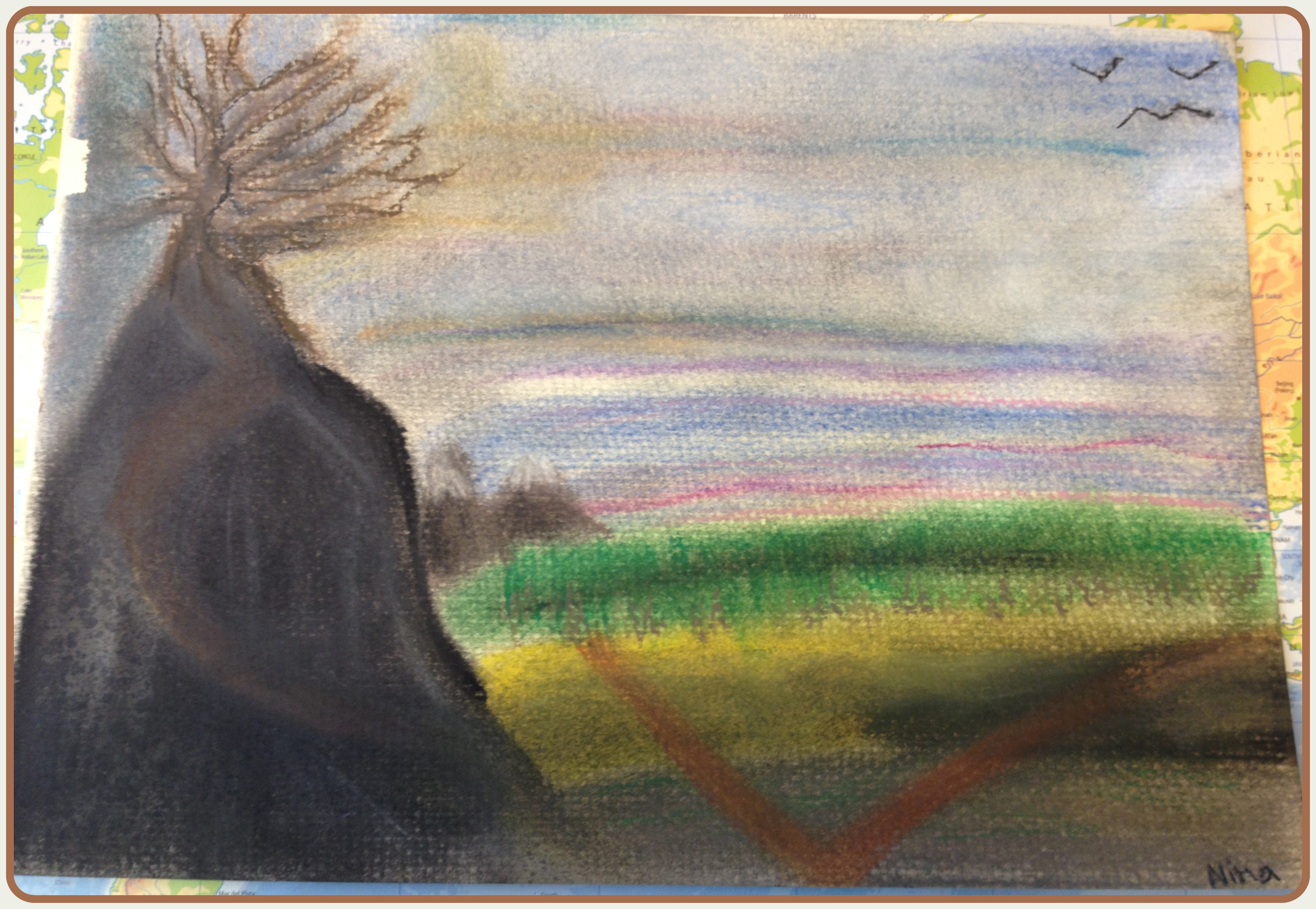 Pastellfärgad illustration av en dikt full av hopp
